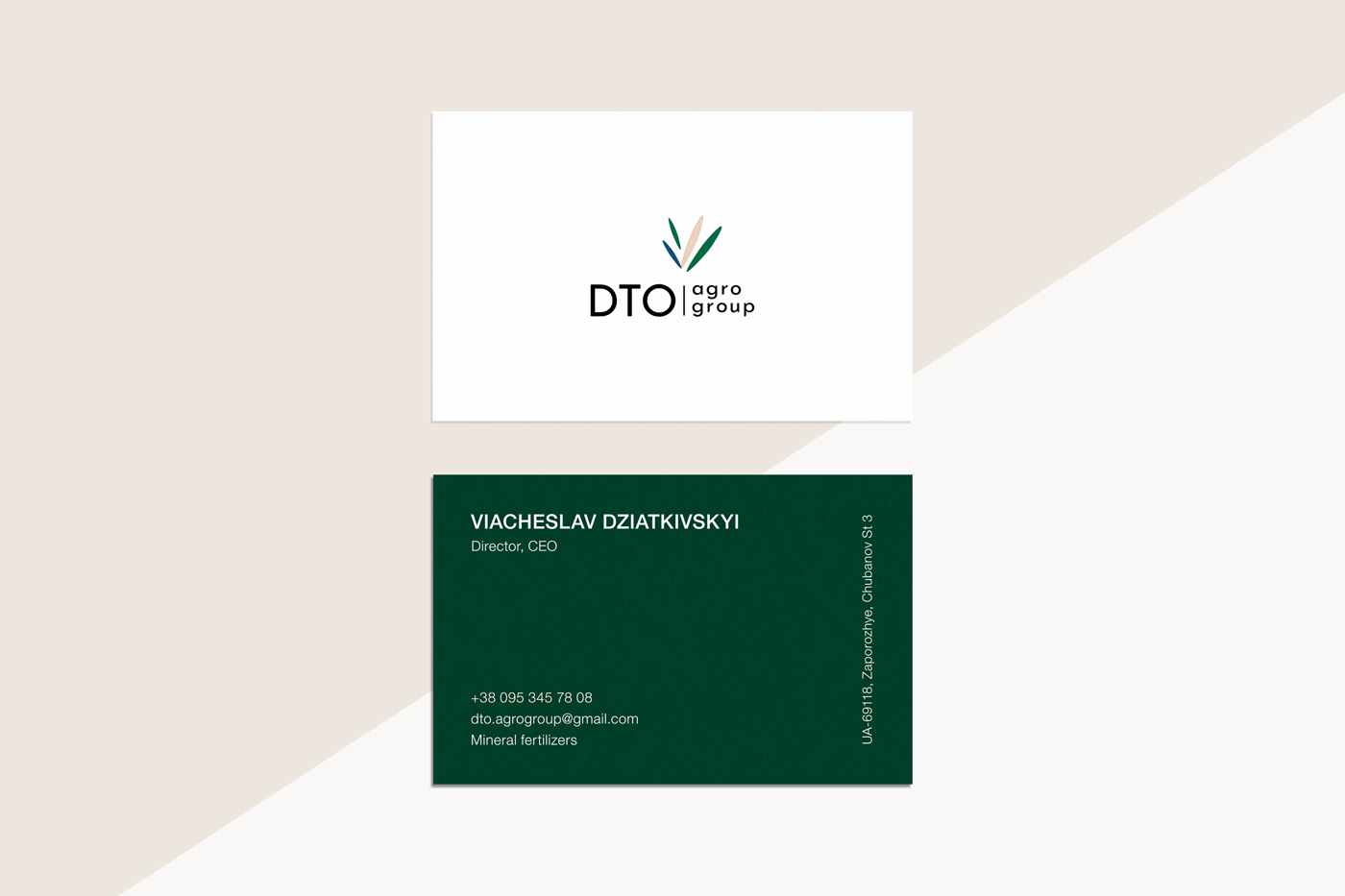 Фирменный стиль и логотип. Визитки для украинской агрокомпании DTO