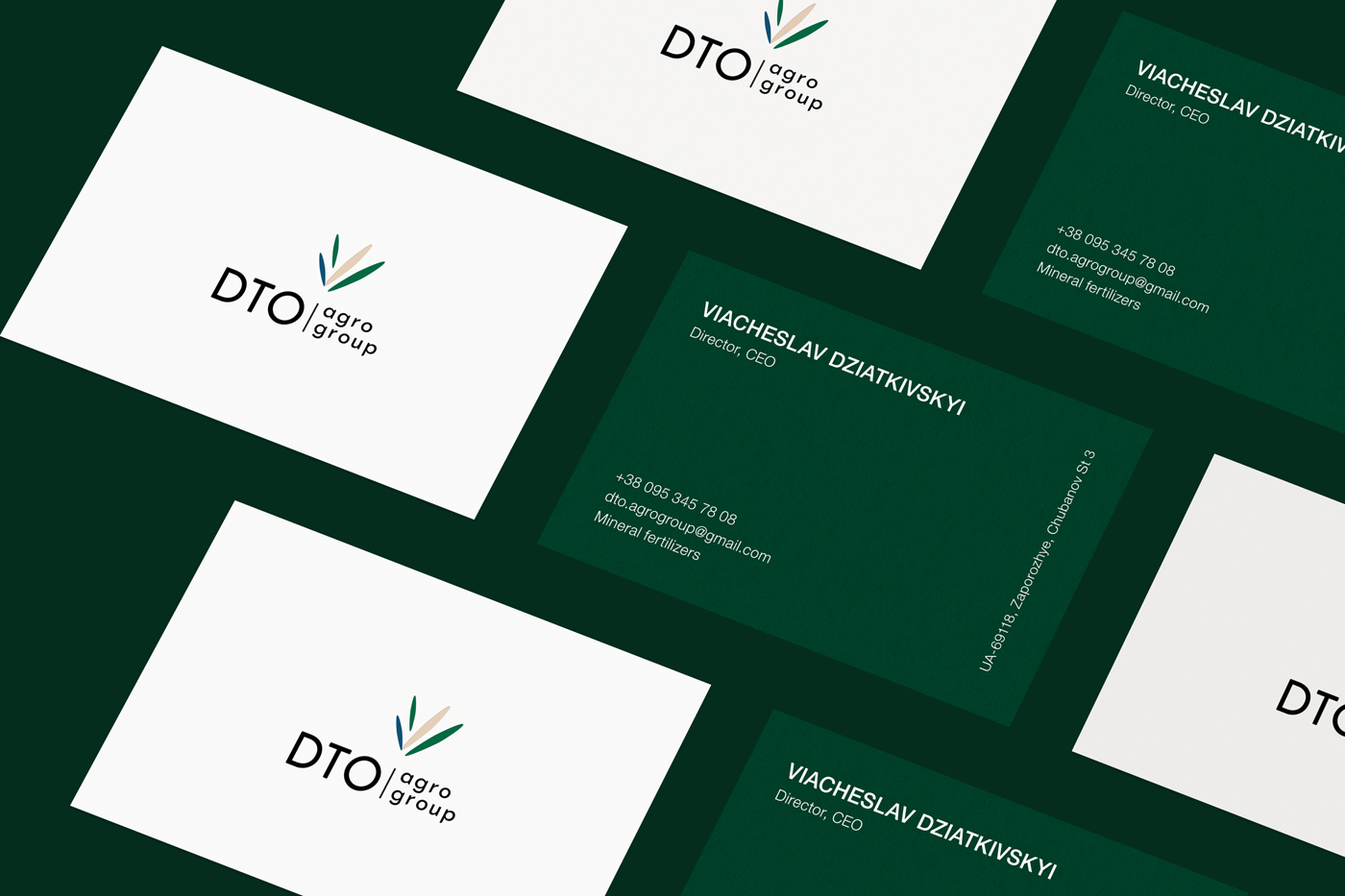 Brand identity and logo. Business cards for Ukrainian agricultural company DTO
