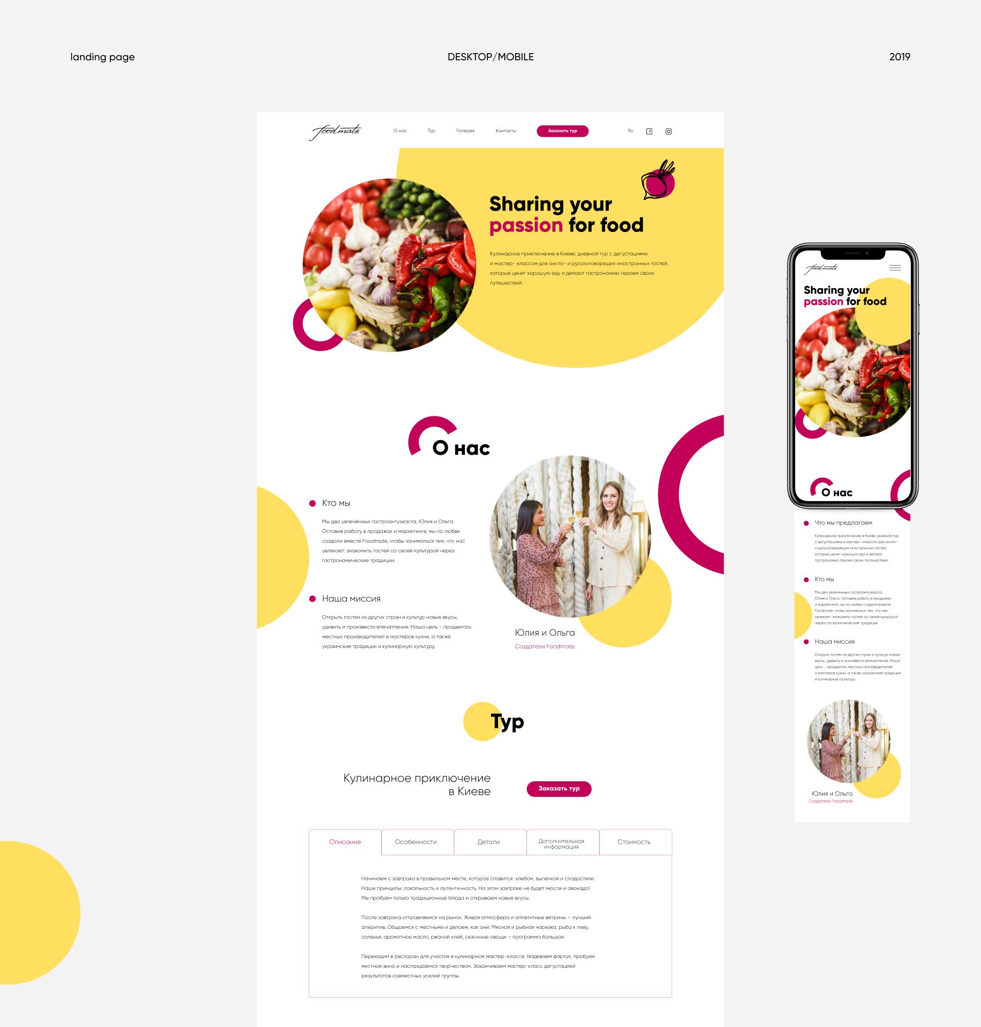 Десктопная и мобильная версия сайта foodmate