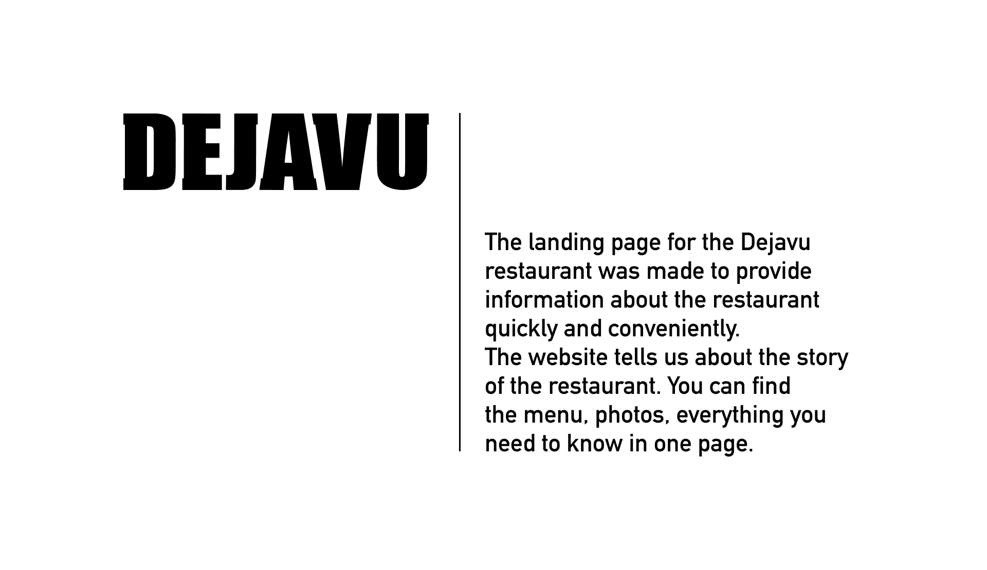 Website development for a legendary restaurant. Landing page, menus, business cards, printing